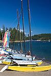 Sailing vessels for rent during the summer tourist season. Lake Coeur D Alene, Coeur D Alene, Idaho.