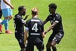 Torjubel zu 0:1 v.l der Torschuetze Uerdingens Osawe Osayamen (Nr.35), Uerdingens Kirchhoff Jan (Nr.4) und Uerdingens Barry Boubacar (Nr.22)  beim Spiel in der 3. Liga, SV Waldhof Mannheim - KFC Uerdingen 05.<br /> <br /> Foto © PIX-Sportfotos *** Foto ist honorarpflichtig! *** Auf Anfrage in hoeherer Qualitaet/Aufloesung. Belegexemplar erbeten. Veroeffentlichung ausschliesslich fuer journalistisch-publizistische Zwecke. For editorial use only. DFL regulations prohibit any use of photographs as image sequences and/or quasi-video.
