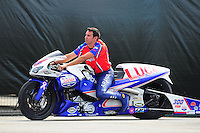 Nov. 11, 2011; Pomona, CA, USA; NHRA pro stock motorcycle rider Hector Arana Jr during qualifying at the Auto Club Finals at Auto Club Raceway at Pomona. Mandatory Credit: Mark J. Rebilas-.