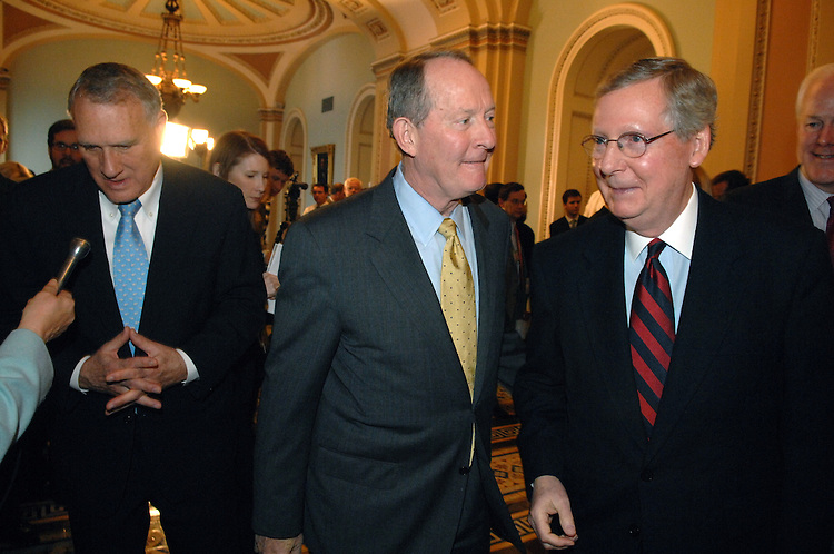 From left, newly elected Senate Minority Whip Jon Kyl, R-Ariz., newly elected chairman of the Republican Conference Lamar Alexander, R-Tenn., and Senate Minority Leader Mitch McConnell, R-Ky., leave a news conference in the Ohio Clock corridor, after leadership elections.