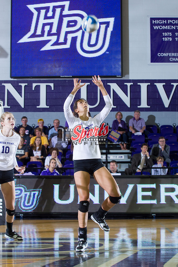 Val Jeffery (2) of the High Point Panthers sets the ball during the match against the VCU Rams at Millis Athletic Center on September 17, 2013 in High Point, North Carolina.  The Rams defeated the Panthers 3-0.   (Brian Westerholt/Sports On Film)