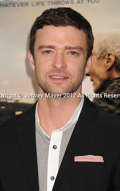 WESTWOOD, CA - SEPTEMBER 19: Justin Timberlake arrives at the 'Trouble With The Curve' at Mann's Village Theatre on September 19, 2012 in Westwood, California.