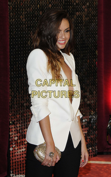Jennifer Metcalfe.attended the British Soap Awards 2013, Media City, Salford, Manchester, England, UK, 18th May 2013..arrivals half length black trousers white jacket blazer ombre dyed hair  nothing underneath gold clutch bag shoulder pads tuxedo boob smiling studded side .CAP/CAN.©Can Nguyen/Capital Pictures.