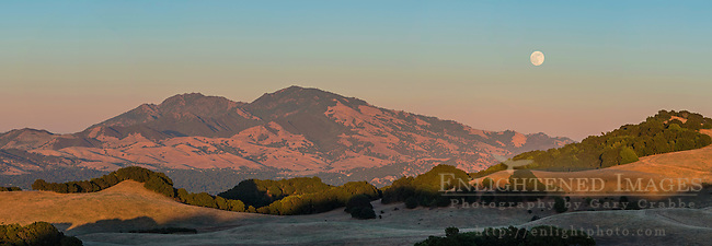 Panorama of a 'super-moon' (June, 2013) full moon rising over Mount Diablo and the hills of Briones Regional Park, Contra Costa County, California