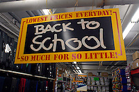 Back to school supplies are seen in the basement of National Discount Liquidators in the Soho neighborhood of New York on Sunday, August 24, 2008. Because of the weak economy parents are looking for bargains to outfit their children for the upcoming school year. (© Richard B. Levine)
