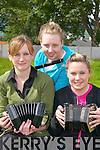 CHEOIL: Gretta Curtin, Brosna, Caroline.Costello, Castlemaine, and Louise Bunyan,.Listowel, entertaining at Fleadh.Cheoil Chiarrai in Milltown last Sunday.