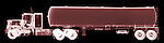 X-ray image of a tanker truck (red on black) by Jim Wehtje, specialist in x-ray art and design images.