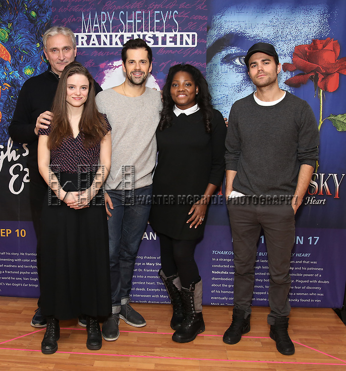 Rocco Sisto, Mia Vallet, Robert Fairchild, Krysty Swann and Paul Wesley attends the Meet & Greet the cast of 'Mary Shelley's Frankenstein' at the Shelter Studios on December 14, 2017 in New York City.