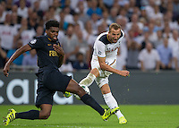 Harry Kane of Tottenham Hotspur has a shot blocked by Jemerson of Monaco during the UEFA Champions League Group stage match between Tottenham Hotspur and Monaco at White Hart Lane, London, England on 14 September 2016. Photo by Andy Rowland.