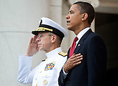 Arlington, VA - May 25, 2009 -- United States President Barack Obama and Admiral Michael Mullen, left, Chairman of the Joint Chiefs of Staff, stand at attention during Memorial Day Ceremonies at Arlington National Cemetery in Arlington, VA, U.S.,  Monday, May 25, 2009.  .Credit: Joshua Roberts - Pool via CNP