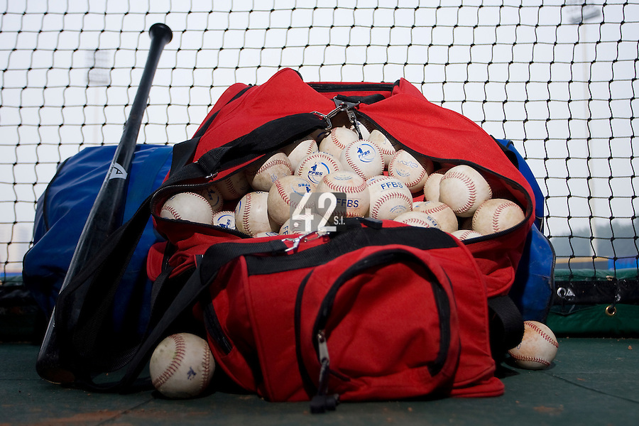 20 August 2007: FFBS baseballs lie in a bag in the dugout during the Czech Republic 6-1 victory over France in the Good Luck Beijing International baseball tournament (olympic test event) at the Wukesong Baseball Field in Beijing, China.
