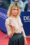 """Pauline Lefevre poses on the red carpet before the screening of the film """"The Man from U.N.C.L.E."""" during the 41st Deauville American Film Festival on September 11, 2015 in Deauville, France"""