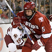 Brock Bradford (Boston College - Burnaby, BC) chases Jack Christian (Harvard University - Wilton, CT) into the corner. The Boston College Eagles defeated the Harvard University Crimson 3-1 in the first round of the 2007 Beanpot Tournament on Monday, February 5, 2007, at the TD Banknorth Garden in Boston, Massachusetts.  The first Beanpot Tournament was played in December 1952 with the scheduling moved to the first two Mondays of February in its sixth year.  The tournament is played between Boston College, Boston University, Harvard University and Northeastern University with the first round matchups alternating each year.