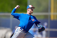 Toronto Blue Jays pitcher Jon Harris (29) during a Minor League Spring Training Intrasquad game on March 14, 2018 at Englebert Complex in Dunedin, Florida.  (Mike Janes/Four Seam Images)