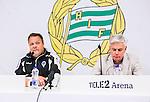 Stockholm 2015-04-25 Fotboll Allsvenskan Hammarby IF - &Aring;tvidabergs FF :  <br /> &Aring;tvidabergs tr&auml;nare Roar Hansen och Hammarbys tr&auml;nare Nanne Bergstrand under presskonferensen efter matchen mellan Hammarby IF och &Aring;tvidabergs FF <br /> (Foto: Kenta J&ouml;nsson) Nyckelord:  Fotboll Allsvenskan Tele2 Arena Hammarby HIF Bajen &Aring;tvidaberg &Aring;FF tr&auml;nare manager coach press presskonferens intervju portr&auml;tt portrait