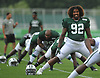 Leonard Williams #92 of the New York Jets stretches during training camp at the Atlantic Health Jets Training Center in Florham Park, NJ on Friday, Aug. 4, 2017.