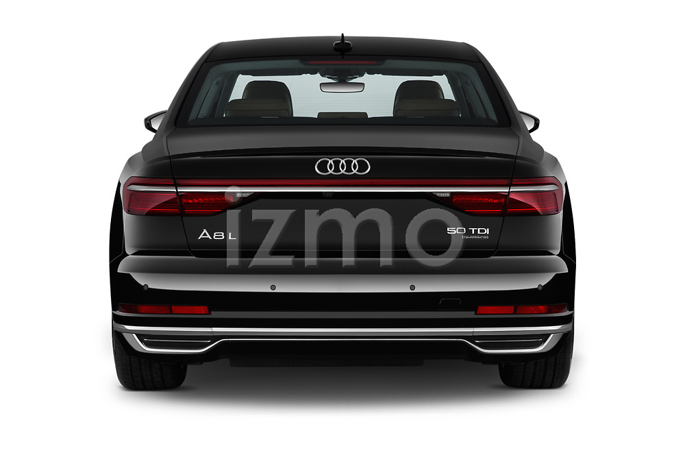 Straight rear view of 2019 Audi A8-L Avus-Extended 4 Door Sedan Rear View  stock images