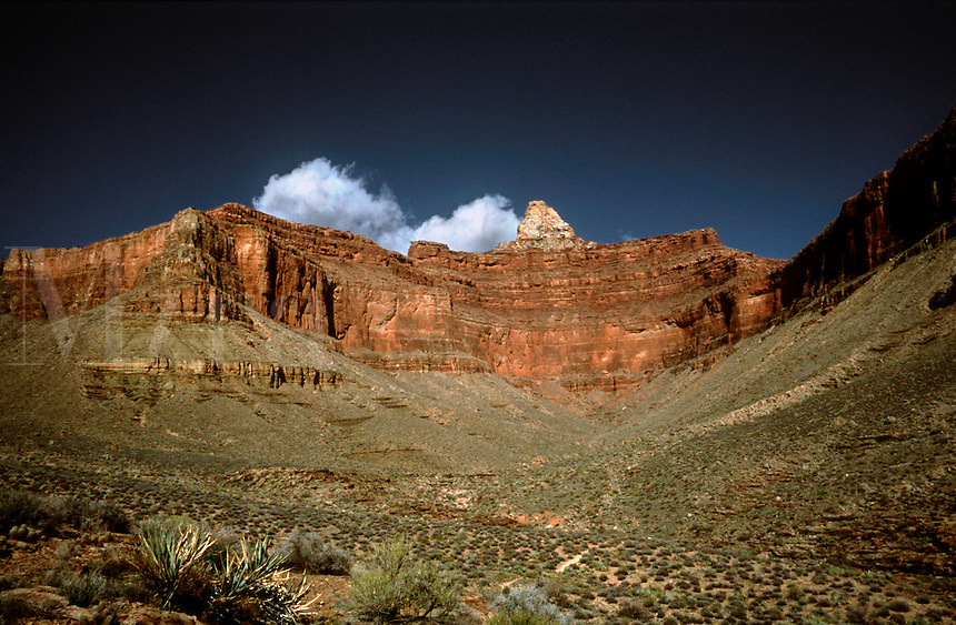 View of Zoraster Temple along the Clear Creek Trail in Grand Canyon National Park, Arizona.
