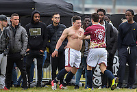 Joseph Valence (The Apprentice 2015) celebrates with goal scorer Mergim Butaja (The Apprentice 2015) during the SOCCER SIX Celebrity Football Event at the Queen Elizabeth Olympic Park, London, England on 26 March 2016. Photo by Andy Rowland.