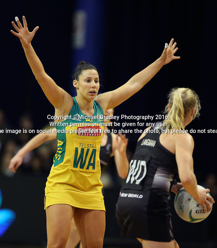 12.10.2016 Australia's Madi Robinson in action during the Silver Ferns v Australia netball test match played at the Silver Dome in Launceston in Australia.. Mandatory Photo Credit ©Michael Bradley.