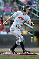 Indianapolis Indians first baseman John Bowker #23 at bat during a game against the Rochester Red Wings at Frontier Field on June 18, 2011 in Rochester, New York.  Rochester defeated Indianapolis 12-7.  (Mike Janes/Four Seam Images)