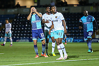 Nick Freeman of Wycombe Wanderers holds his hands on his head after missing a chance to score during the The Checkatrade Trophy match between Wycombe Wanderers and West Ham United U21 at Adams Park, High Wycombe, England on 4 October 2016. Photo by David Horn.