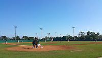 General view of the first game of a doubleheader between the Plymouth State Panthers and Edgewood Eagles on March 17, 2015 at Terry Park in Fort Myers, Florida.  Edgewood defeated Plymouth State 12-3.  (Mike Janes/Four Seam Images)