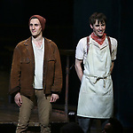 John Krause and Reeve Carney during Broadway Opening Night Performance Curtain Call for 'Hadestown' at the Walter Kerr Theatre on April 17, 2019 in New York City.