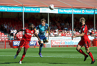 Dayle Southwell of Wycombe Wanderers wins the header from Andre Blackman of Crawley Town during the Sky Bet League 2 match between Crawley Town and Wycombe Wanderers at Broadfield Stadium, Crawley, England on 6 August 2016. Photo by Alan  Stanford / PRiME Media Images.
