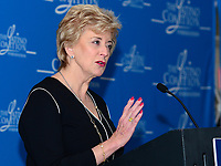 """Washington, DC - March 9, 2017: Linda McMahon, Administrator of the Small Business Administration, speaks at the """"Make Small Business Great Again Policy Summit"""" hosted by the Latino Coalition at the J.W. Marriott Hotel in the District of Columbia, March 9, 2017. McMahon served as CEO of the WWE wrestling conglomerate from 1997-2009, after starting the company with her husband, Vince McMahon, in the 1980's. (Photo by Don Baxter/Media Images International)"""