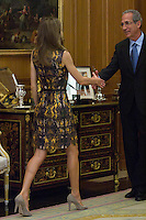 26.07.2012. Princess Letizia of Spain attends audience with the  representation of Toledo Athletic Club, chaired by Julian Martin Garrido at Zarzuela Palace. In the image Princess Letizia (Alterphotos/Marta Gonzalez) /NortePhoto.com<br /> <br /> **CREDITO*OBLIGATORIO** *No*Venta*A*Terceros*<br /> *No*Sale*So*third* ***No*Se*Permite*Hacer Archivo***No*Sale*So*third*©Imagenes*con derechos*de*autor©todos*reservados*.