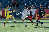 FOXBOROUGH, MA - MARCH 7: Brad Knighton #18 of New England Revolution moves in to try to save a shot from Przemyslaw Frankowski #11 of Chicago Fire at goal during a game between Chicago Fire and New England Revolution at Gillette Stadium on March 7, 2020 in Foxborough, Massachusetts.