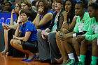 Apr 7, 2013; Muffet McGraw watches game action during second half of the semifinals against Connecticut of the 2013 NCAA women's basketball Final Four at the New Orleans Arena. Connecticut defeated Notre Dame 83 to 65. Photo by Barbara Johnston/ University of Notre Dame