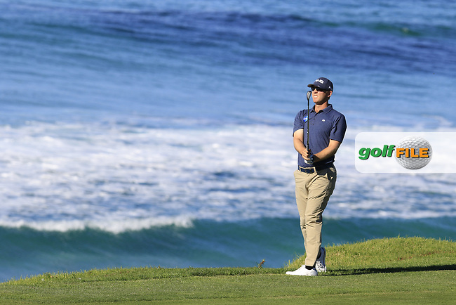 Seamus Power (IRL) plays his 2nd shot on the 10th hole at Pebble Beach course during Friday's Round 2 of the 2018 AT&amp;T Pebble Beach Pro-Am, held over 3 courses Pebble Beach, Spyglass Hill and Monterey, California, USA. 9th February 2018.<br /> Picture: Eoin Clarke | Golffile<br /> <br /> <br /> All photos usage must carry mandatory copyright credit (&copy; Golffile | Eoin Clarke)