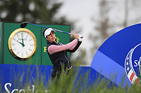 Celine Boutier of Team Europe on the 8th tee during Day 2 Foursomes at the Solheim Cup 2019, Gleneagles Golf CLub, Auchterarder, Perthshire, Scotland. 14/09/2019.<br /> Picture Thos Caffrey / Golffile.ie<br /> <br /> All photo usage must carry mandatory copyright credit (© Golffile | Thos Caffrey)