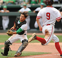 NWA Democrat-Gazette/ANDY SHUPE<br /> Greenland catcher Chandler Alaniz (left) fields the late throw to the plate as Harding Academy first baseman Timmy Stewart scores Friday, May 19, 2017, during the Class 3A state championship game at Baum Stadium in Fayetteville. Visit nwadg.com/photos to see more photographs from the game.