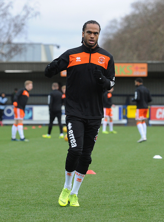 Blackpool's Nathan Delfouneso during the pre-match warm-up <br /> <br /> Photographer Kevin Barnes/CameraSport<br /> <br /> The EFL Sky Bet League One - AFC Wimbledon v Blackpool - Saturday 29th December 2018 - Kingsmeadow Stadium - London<br /> <br /> World Copyright © 2018 CameraSport. All rights reserved. 43 Linden Ave. Countesthorpe. Leicester. England. LE8 5PG - Tel: +44 (0) 116 277 4147 - admin@camerasport.com - www.camerasport.com