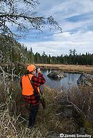 Woman hunting moose