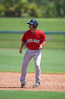 GCL Red Sox outfielder Tyler Spoon (41) leads off second during the first game of a doubleheader against the GCL Rays on August 4, 2015 at Charlotte Sports Park in Port Charlotte, Florida.  GCL Red Sox defeated the GCL Rays 10-2.  (Mike Janes/Four Seam Images)