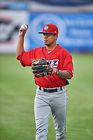 Orem Owlz starting pitcher Sadrac Franco (47) before the game against the Ogden Raptors at Lindquist Field on June 20, 2019 in Ogden, Utah. The Owlz defeated the Raptors 11-8. (Stephen Smith/Four Seam Images)