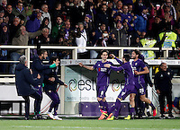 Calcio, Serie A: Fiorentina vs Juventus. Firenze, stadio Artemio Franchi, 24 aprile 2016.<br /> Fiorentina&rsquo;s Nikola Kalinic, center, celebrates with teammates after scoring during the Italian Serie A football match between Fiorentina and Juventus at Florence's Artemio Franchi stadium, 24 April 2016. <br /> UPDATE IMAGES PRESS/Isabella Bonotto
