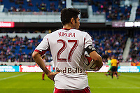 Kosuke Kimura (27) of the New York Red Bulls. The New York Red Bulls and Chivas USA played to a 1-1 tie during a Major League Soccer (MLS) match at Red Bull Arena in Harrison, NJ, on March 30, 2014.