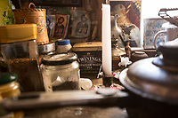 Mount Athos - The Holy Mountain.<br /> Twinning tea bags in the kitchen of Father David.<br /> <br /> Photographer: Rick Findler