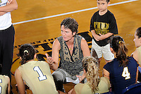 12 October 2008:  FIU Volleyball Head Coach Danijela Tomic speaks with her players during a time-out in the FIU victory 3-0 (25-18, 25-17, 25-20) over North Texas at Panther Arena in Miami, Florida.