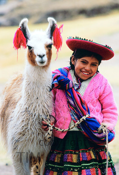 Peruvian girl with llama, Peru, South America RESERVED USE - NOT FOR DOWNLOAD -  FOR USE CONTACT TIM GRAHAM