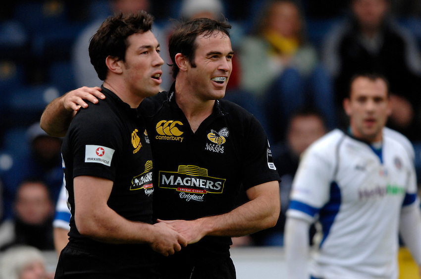 Photo: Richard Lane..London Wasps v Bath Rugby. Guinness Premiership. 12/11/2006. .Wasps' Tom Voyce (lt) and Fraser Waters celebrate a try that was disallowed.