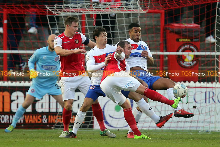 Danny Kedwell of Ebbsfleet turns and hits the post on the build up to the opening goal during Ebbsfleet United vs Dagenham & Redbridge, Vanarama National League Football at The PHB Stadium on 30th December 2017