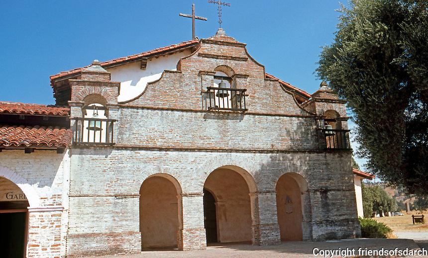 California Missions: Mission San Antonio, 1810-1813. Church Facade. Photo '85.