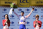 Julian Alaphilippe (FRA) Quick-Step Floors retains the climbers Polka Dot Jersey at the end of Stage 14 of the 2018 Tour de France running 188km from Saint-Paul-Trois-Chateaux to Mende, France. 21st July 2018. <br /> Picture: ASO/Pauline Ballet | Cyclefile<br /> All photos usage must carry mandatory copyright credit (&copy; Cyclefile | ASO/Pauline Ballet)