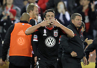 WASHINGTON, DC - OCTOBER 20, 2012:  Lewis Neal (24) of D.C United salutes the crowd after scoring the winning goal against the Columbus Crew during an MLS match at RFK Stadium in Washington D.C. on October 20. D.C United won 3-2.
